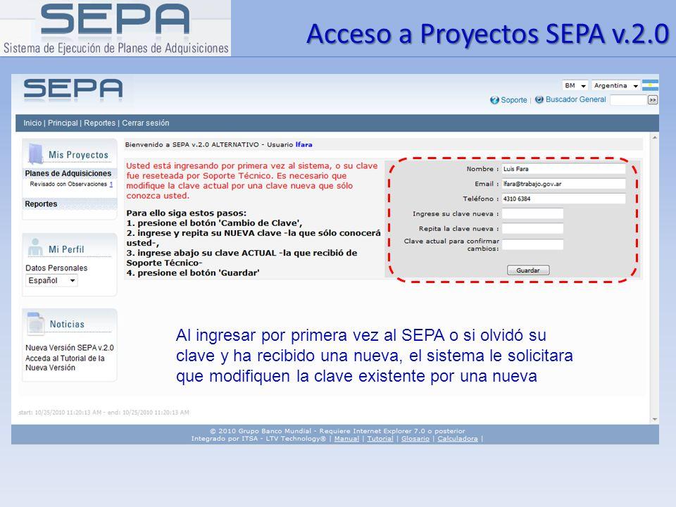 Acceso a Proyectos SEPA v.2.0