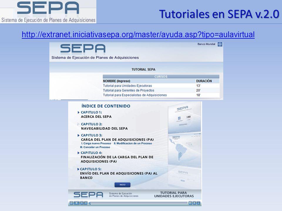 Tutoriales en SEPA v.2.0 http://extranet.iniciativasepa.org/master/ayuda.asp tipo=aulavirtual