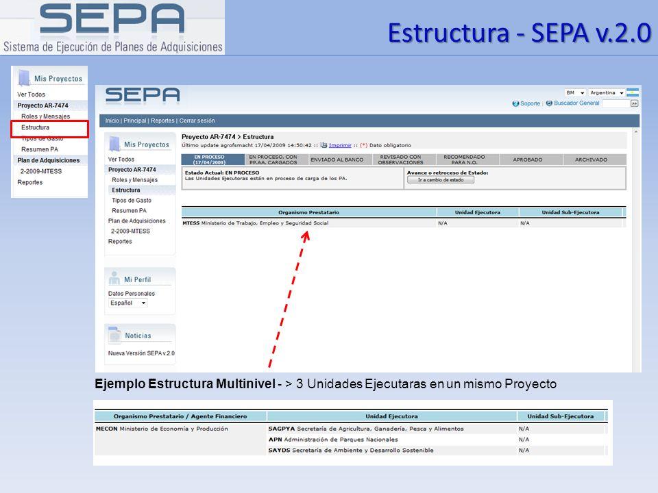 Estructura - SEPA v.2.0 Ejemplo Estructura Multinivel - > 3 Unidades Ejecutaras en un mismo Proyecto.