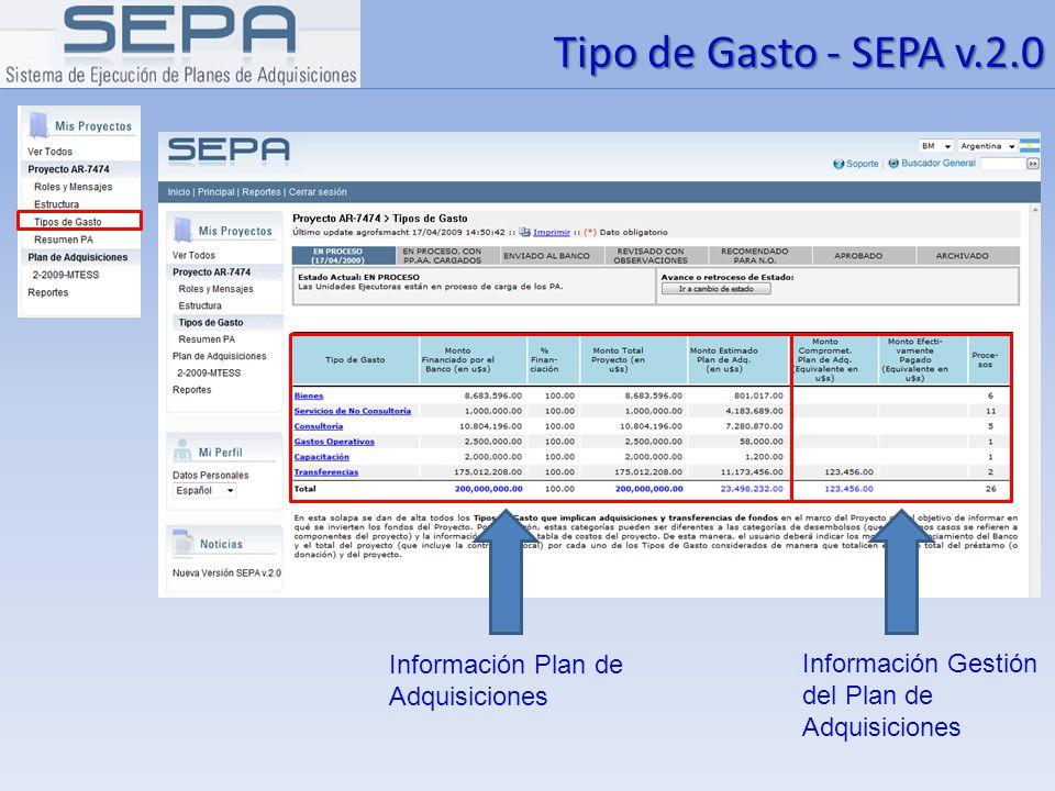 Tipo de Gasto - SEPA v.2.0 Información Plan de Adquisiciones