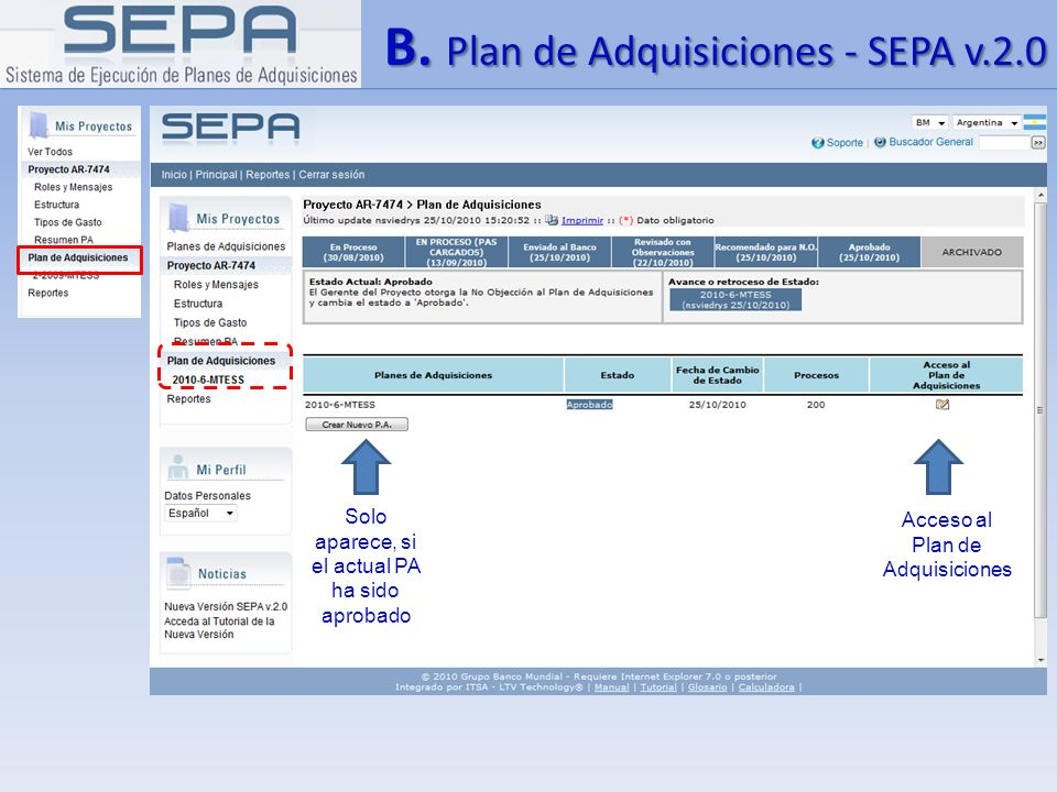 B. Plan de Adquisiciones - SEPA v.2.0