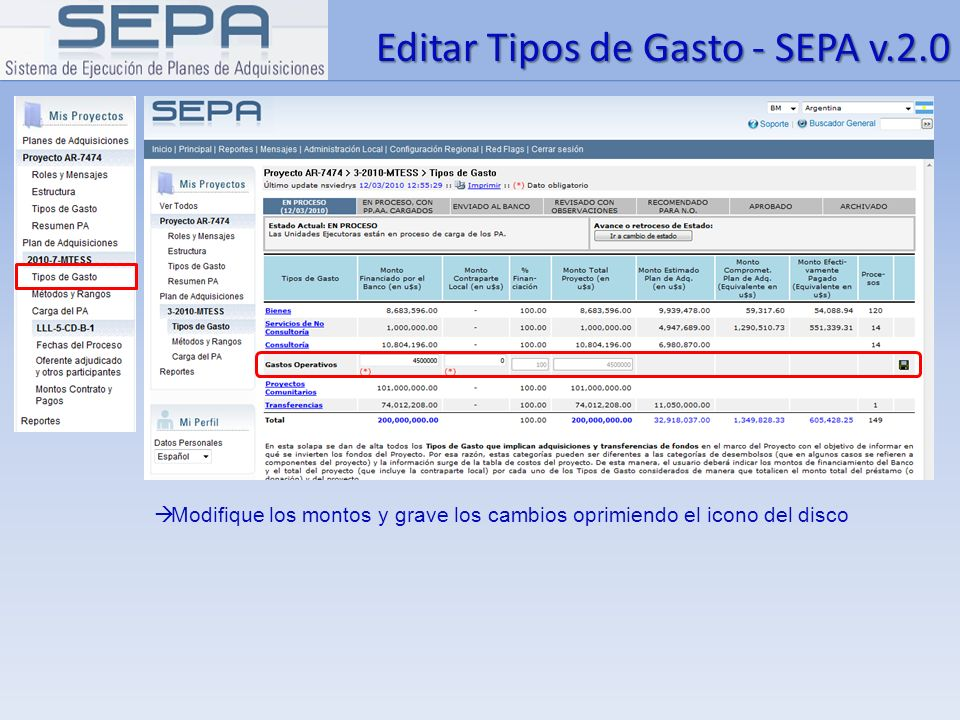 Editar Tipos de Gasto - SEPA v.2.0