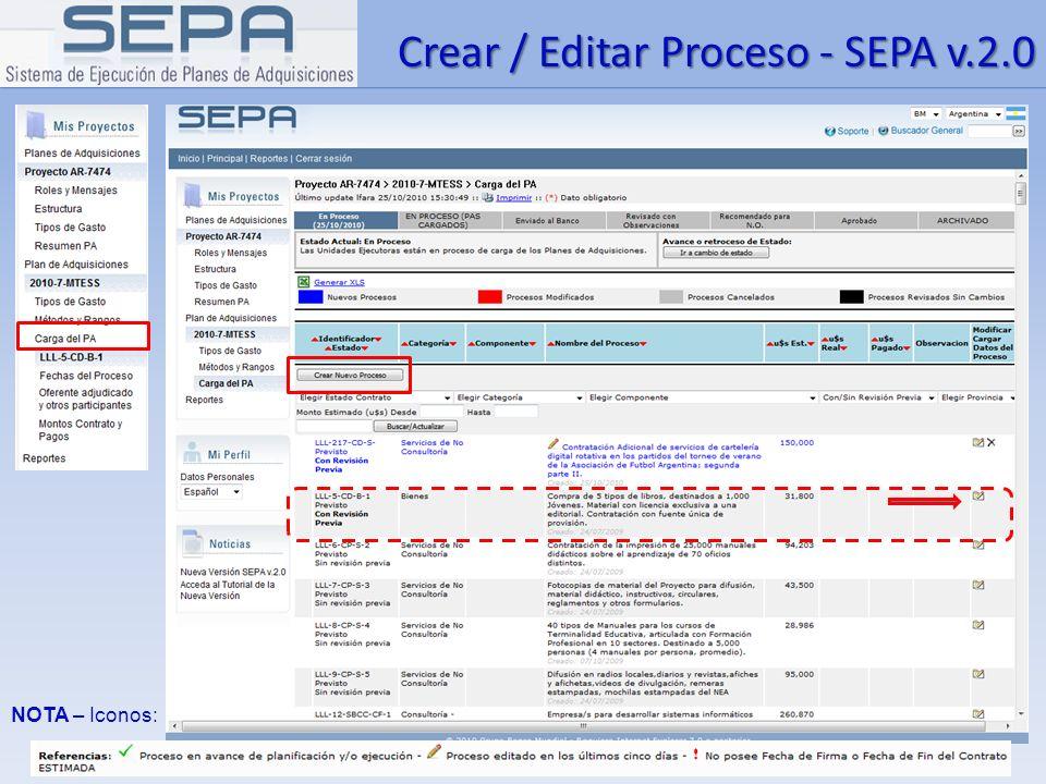 Crear / Editar Proceso - SEPA v.2.0