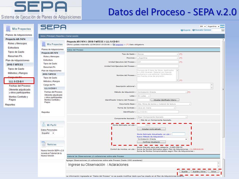 Datos del Proceso - SEPA v.2.0