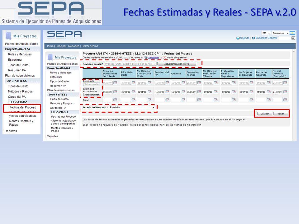 Fechas Estimadas y Reales - SEPA v.2.0
