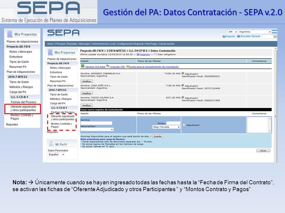 Gestión del PA: Datos Contratación - SEPA v.2.0