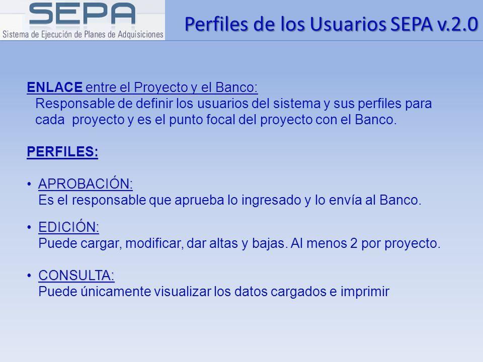 Perfiles de los Usuarios SEPA v.2.0
