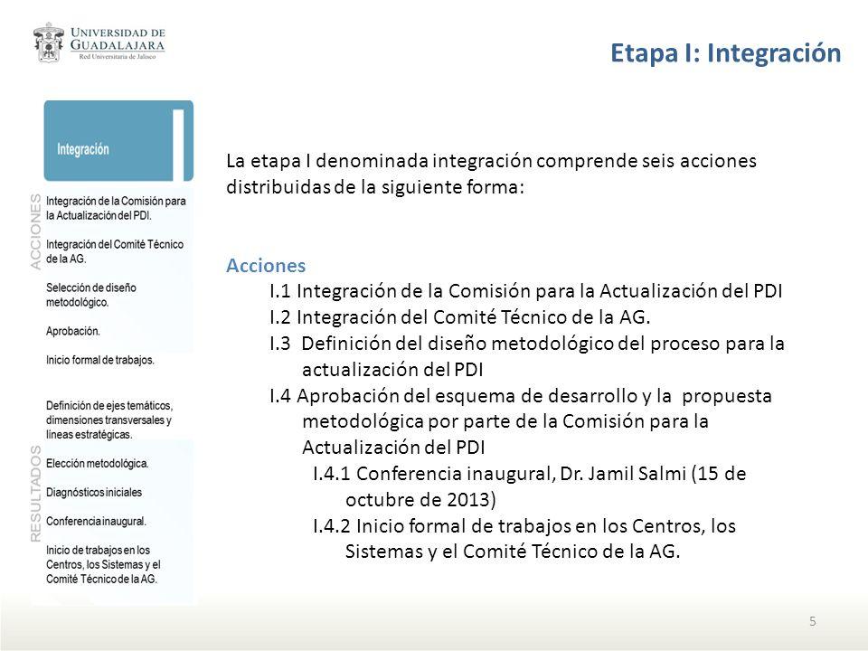 Etapa I: Integración La etapa I denominada integración comprende seis acciones distribuidas de la siguiente forma: