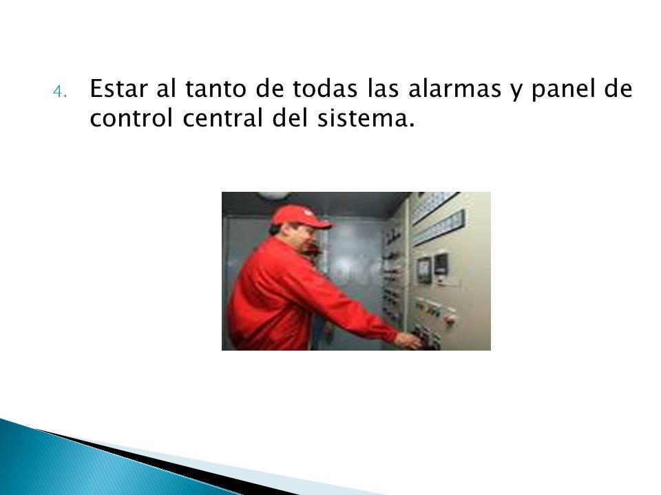 Estar al tanto de todas las alarmas y panel de control central del sistema.