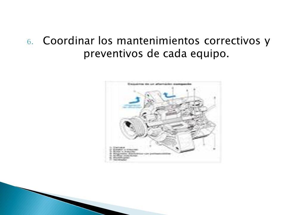 Coordinar los mantenimientos correctivos y preventivos de cada equipo.