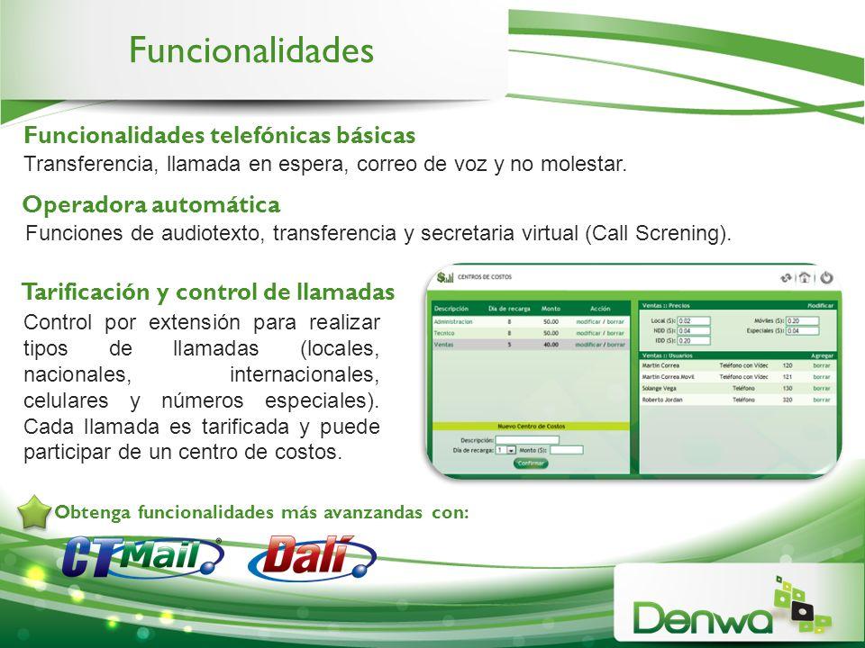 Funcionalidades Funcionalidades telefónicas básicas