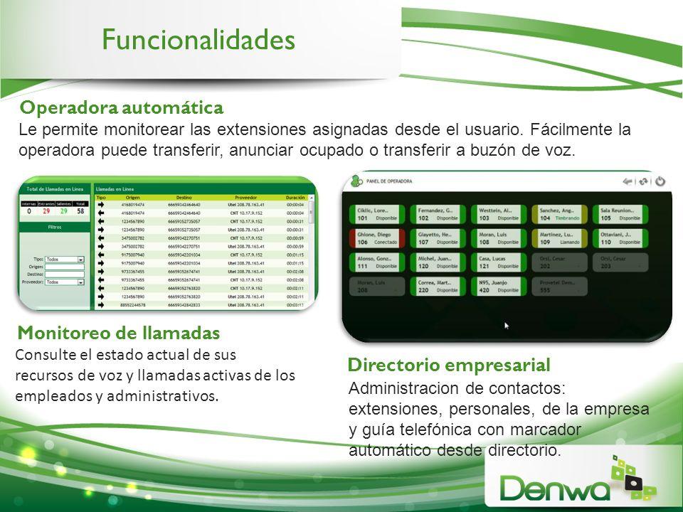 Funcionalidades Operadora automática Monitoreo de llamadas