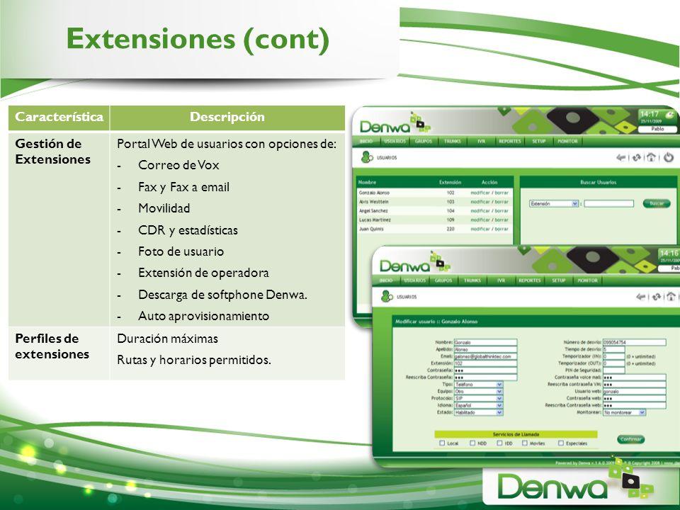Extensiones (cont) Característica Descripción Gestión de Extensiones
