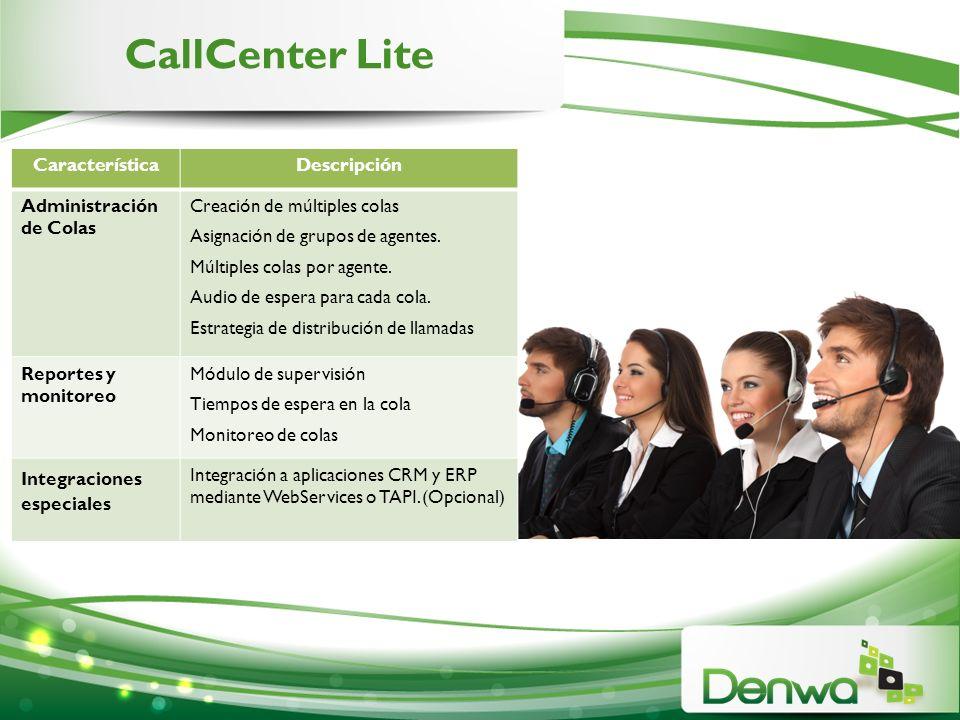 CallCenter Lite Característica Descripción Administración de Colas