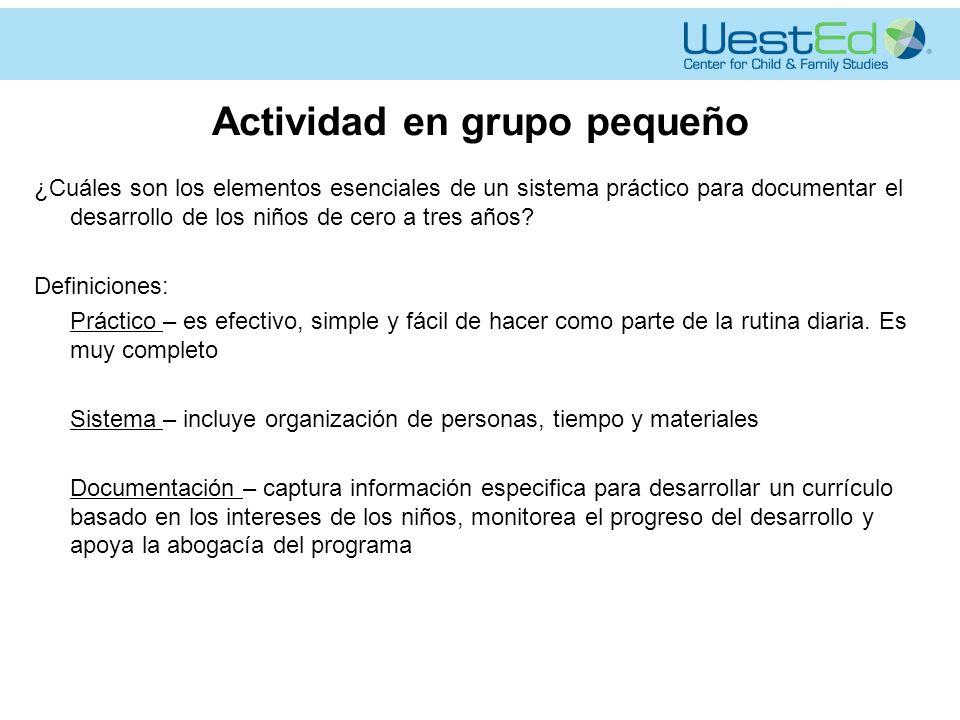 Actividad en grupo pequeño