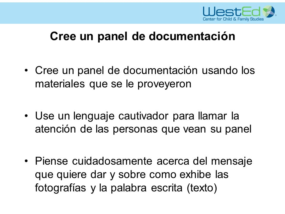 Cree un panel de documentación