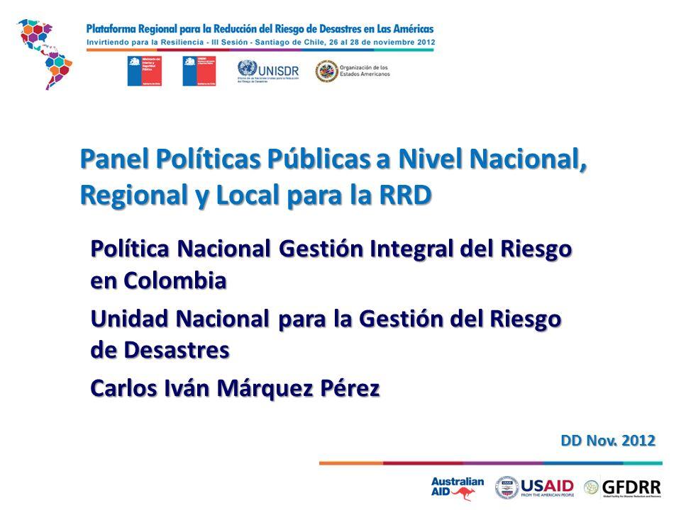 Panel Políticas Públicas a Nivel Nacional, Regional y Local para la RRD