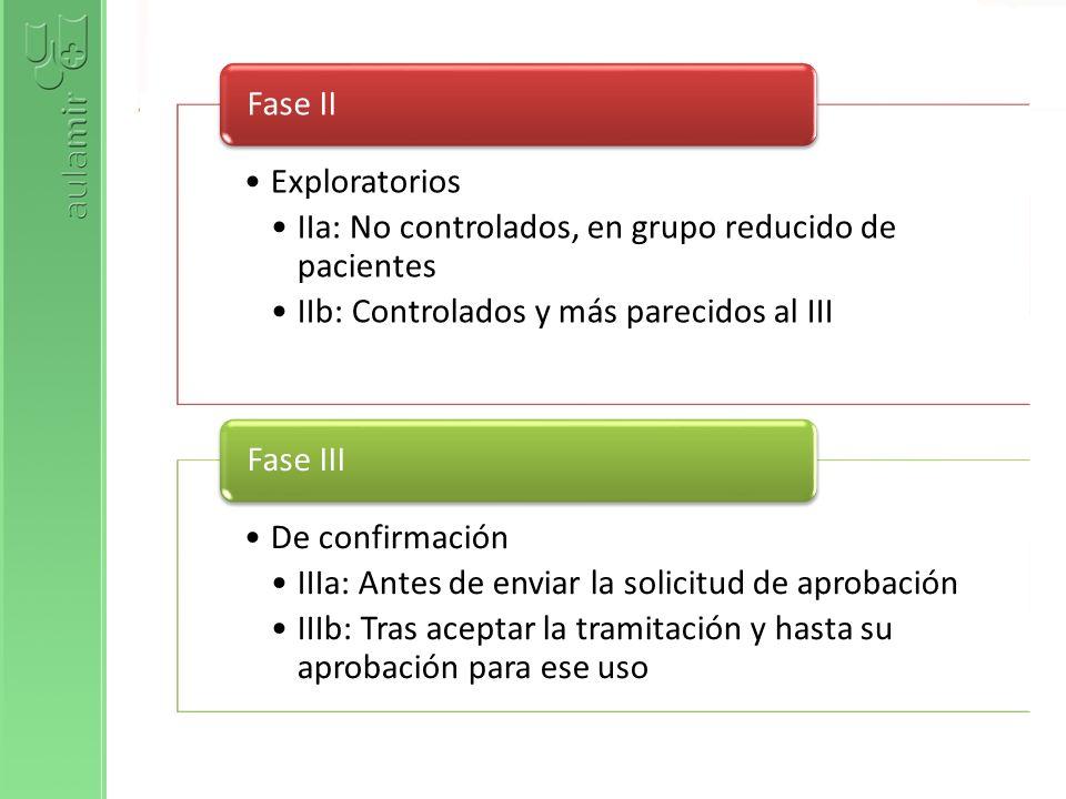 Exploratorios IIa: No controlados, en grupo reducido de pacientes. IIb: Controlados y más parecidos al III.