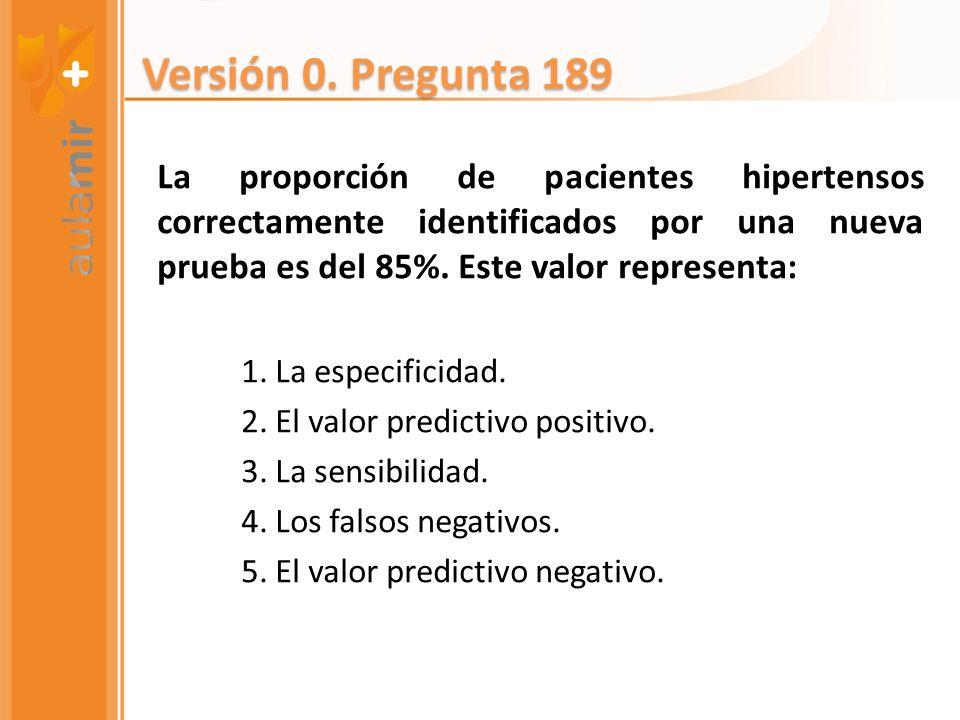 Versión 0. Pregunta 189 La proporción de pacientes hipertensos correctamente identificados por una nueva prueba es del 85%. Este valor representa: