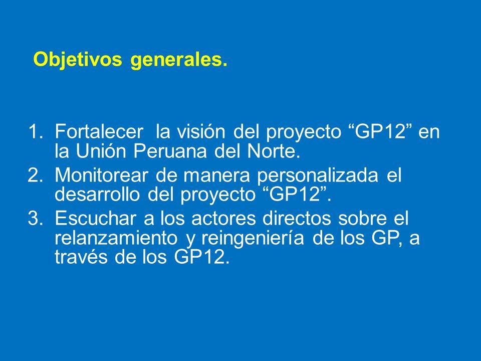 Objetivos generales. Fortalecer la visión del proyecto GP12 en la Unión Peruana del Norte.