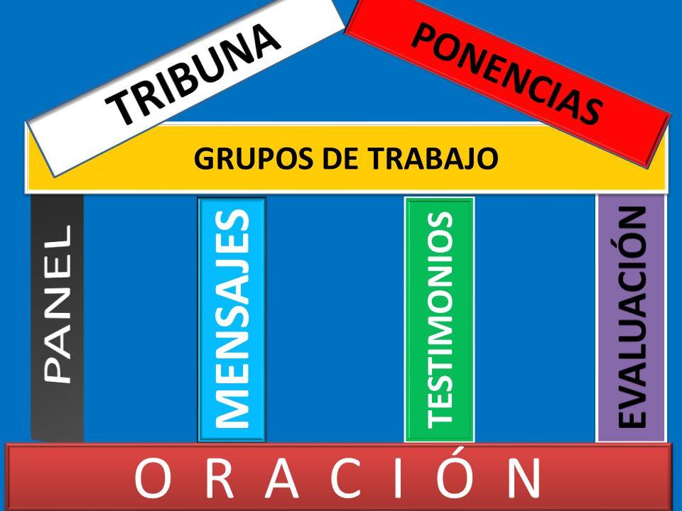 PANEL O R A C I Ó N TRIBUNA MENSAJES PONENCIAS EVALUACIÓN TESTIMONIOS