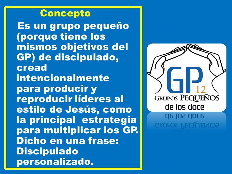 Concepto Es un grupo pequeño (porque tiene los mismos objetivos del GP) de discipulado, cread intencionalmente para producir y reproducir líderes al estilo de Jesús, como la principal estrategia para multiplicar los GP.