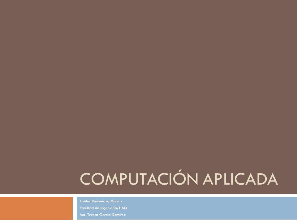 Computación Aplicada Tablas Dinámicas, Macros