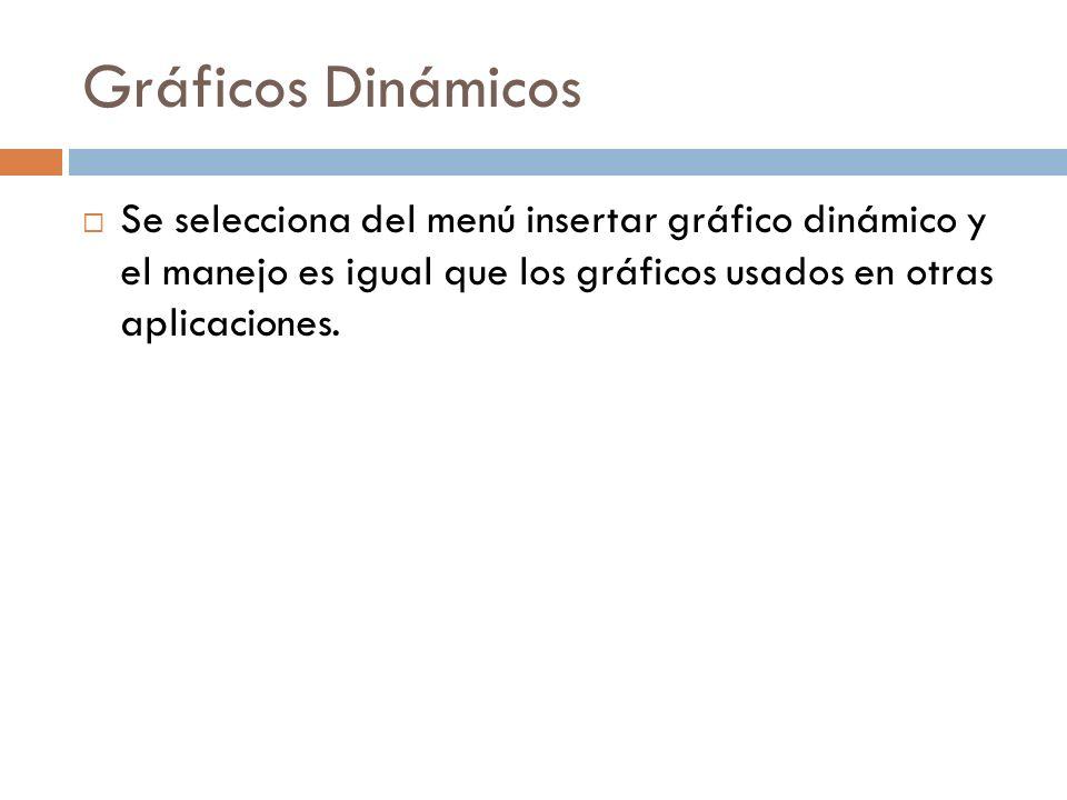 Gráficos Dinámicos Se selecciona del menú insertar gráfico dinámico y el manejo es igual que los gráficos usados en otras aplicaciones.