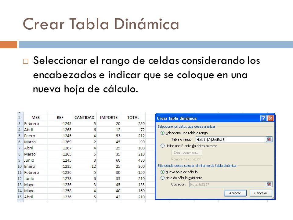Crear Tabla Dinámica Seleccionar el rango de celdas considerando los encabezados e indicar que se coloque en una nueva hoja de cálculo.