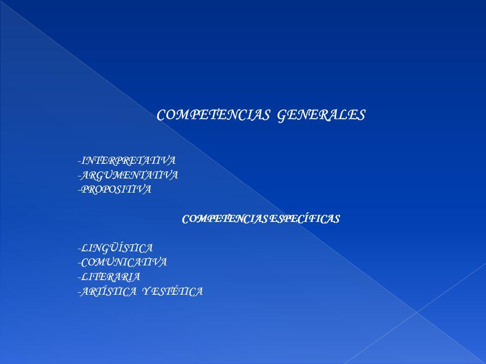 COMPETENCIAS GENERALES COMPETENCIAS ESPECÍFICAS