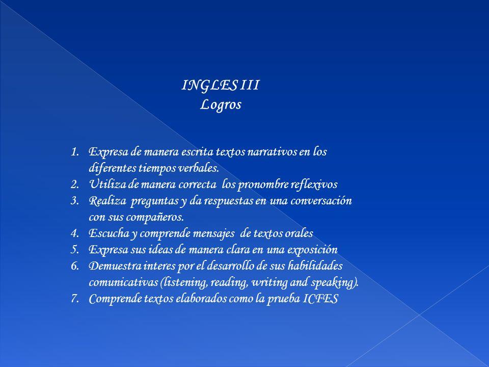 INGLES III Logros. Expresa de manera escrita textos narrativos en los diferentes tiempos verbales.