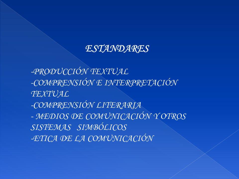 ESTANDARES -PRODUCCIÓN TEXTUAL -COMPRENSIÓN E INTERPRETACIÓN TEXTUAL