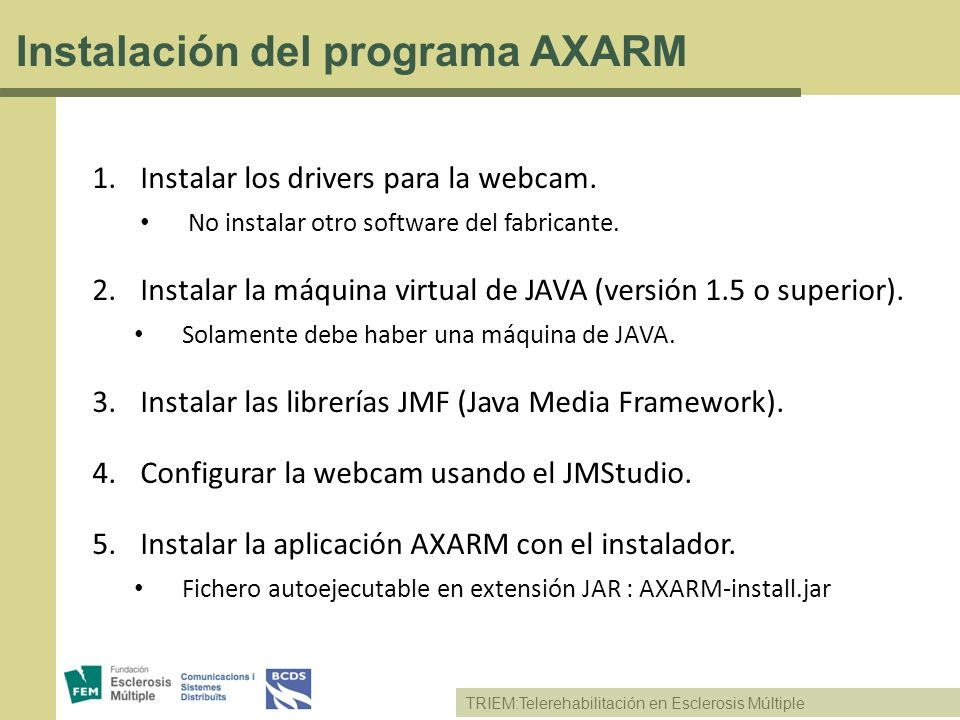 Instalación del programa AXARM
