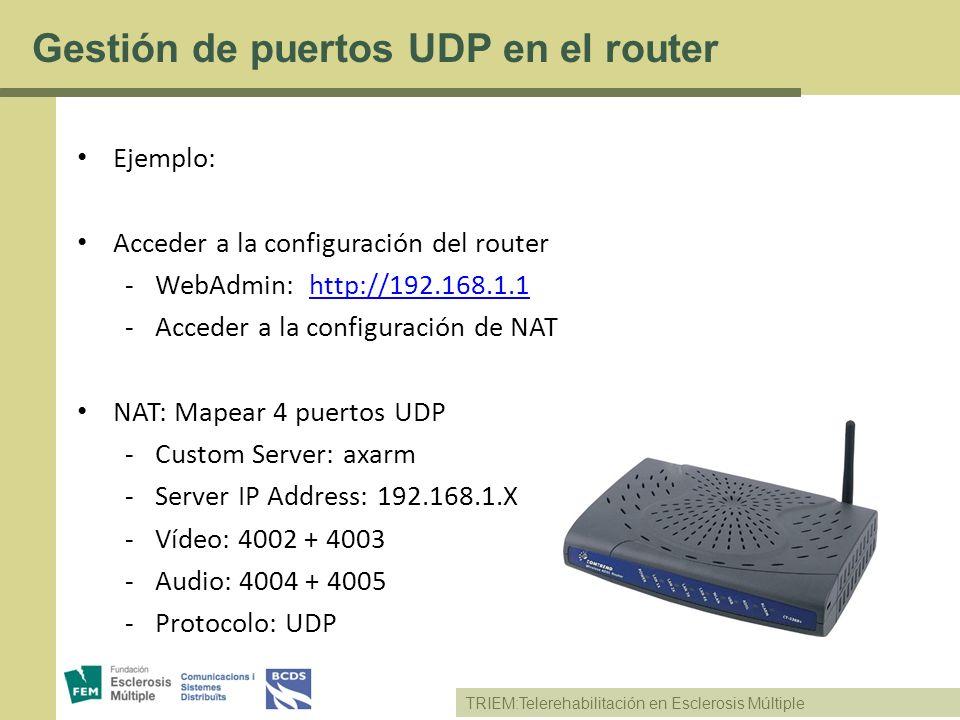 Gestión de puertos UDP en el router