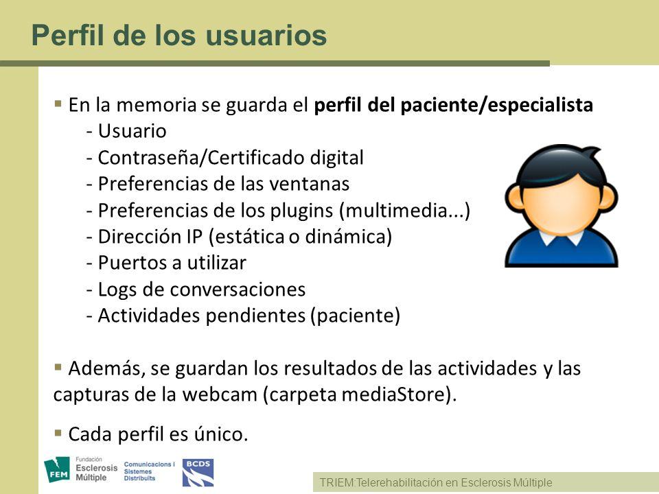 Perfil de los usuarios En la memoria se guarda el perfil del paciente/especialista. Usuario. Contraseña/Certificado digital.