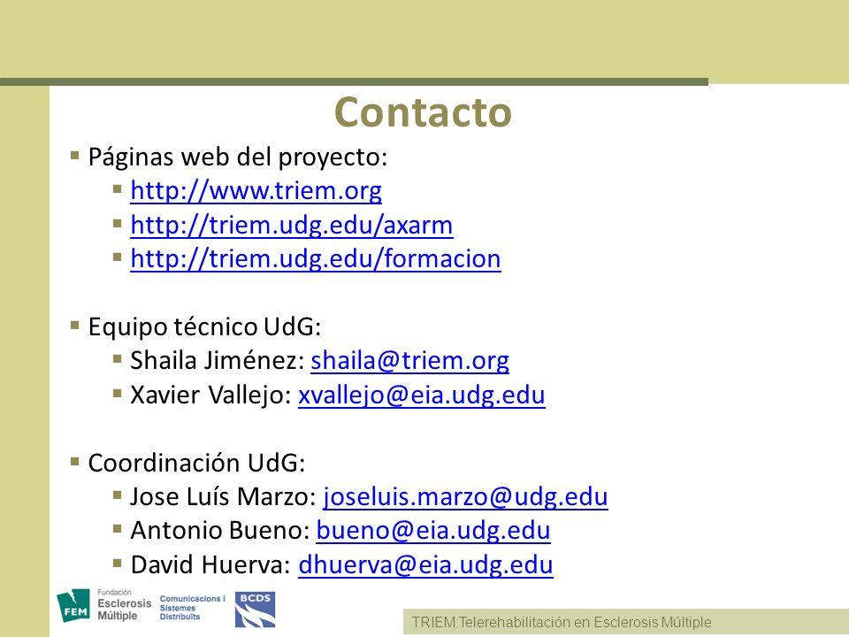 Contacto Páginas web del proyecto: http://www.triem.org
