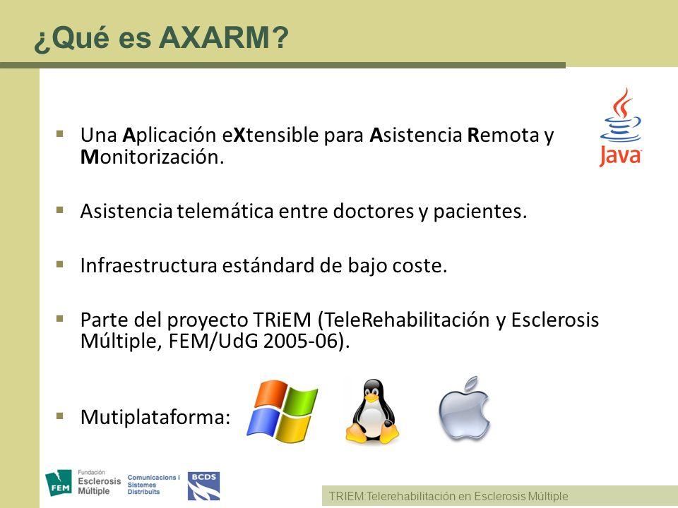 ¿Qué es AXARM Una Aplicación eXtensible para Asistencia Remota y Monitorización. Asistencia telemática entre doctores y pacientes.