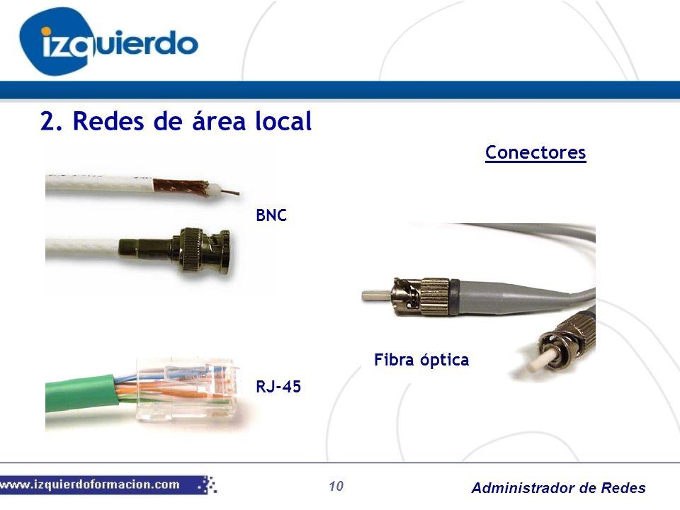 2. Redes de área local Conectores BNC Fibra óptica RJ-45