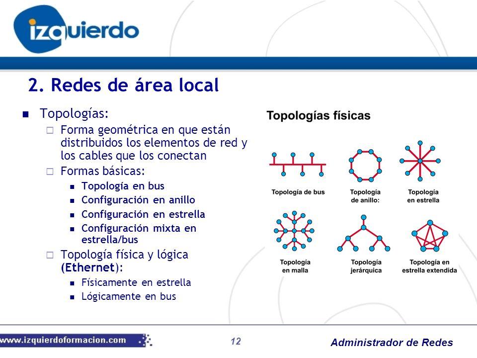 2. Redes de área local Topologías: