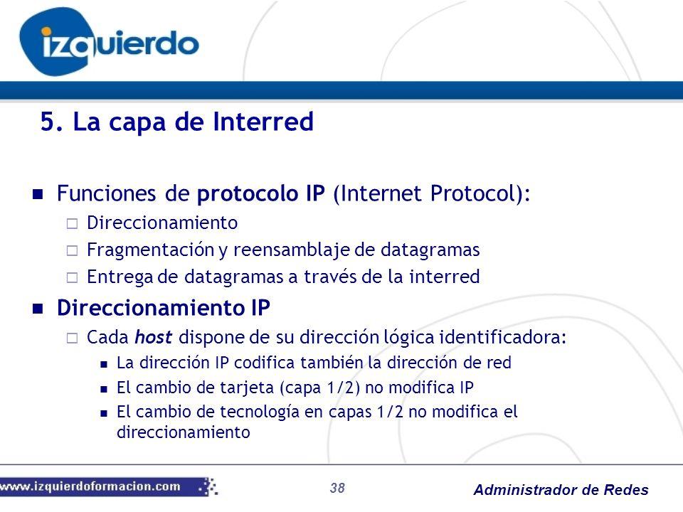 5. La capa de Interred Funciones de protocolo IP (Internet Protocol):