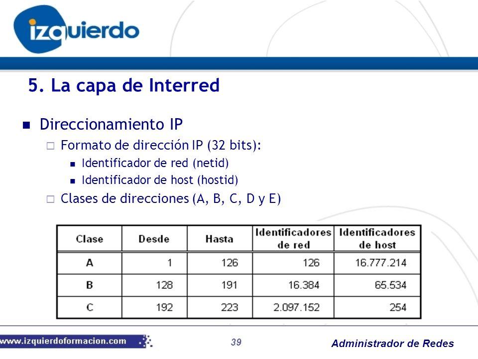 5. La capa de Interred Direccionamiento IP