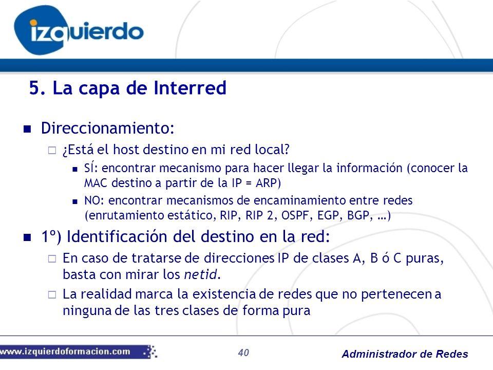 5. La capa de Interred Direccionamiento: