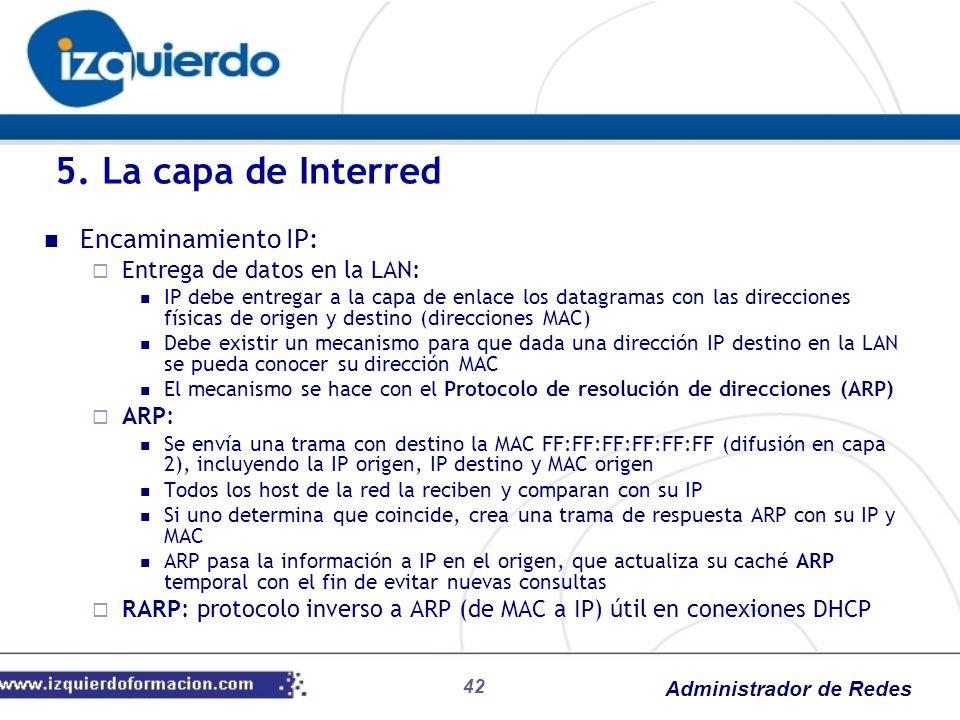5. La capa de Interred Encaminamiento IP: Entrega de datos en la LAN: