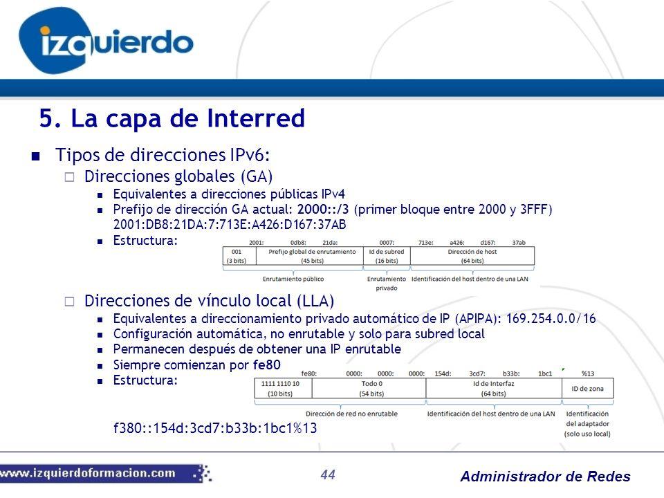 5. La capa de Interred Tipos de direcciones IPv6: