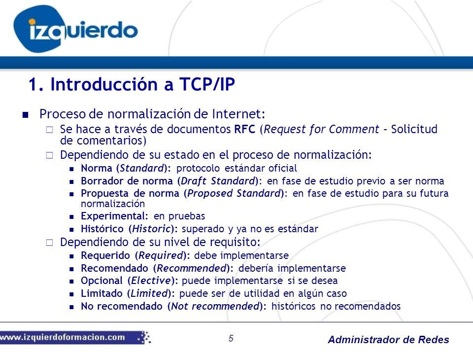 1. Introducción a TCP/IP Proceso de normalización de Internet: