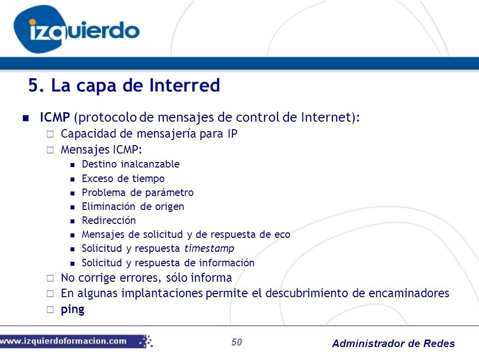 5. La capa de Interred ICMP (protocolo de mensajes de control de Internet): Capacidad de mensajería para IP.