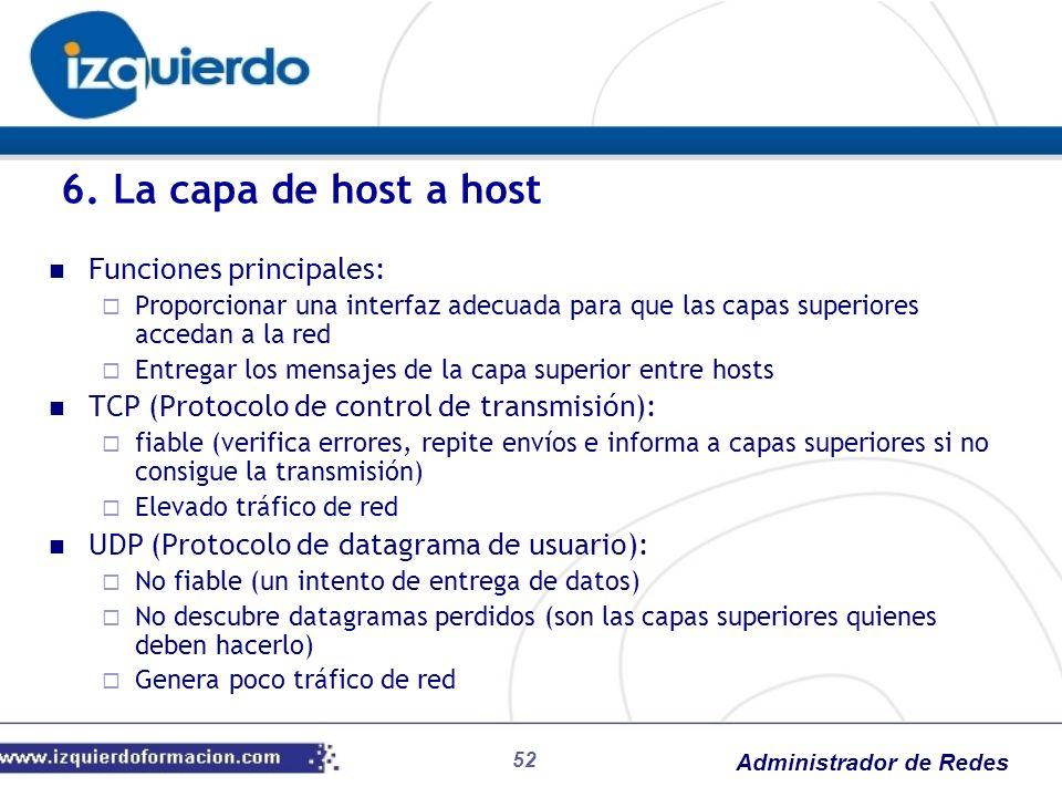 6. La capa de host a host Funciones principales: