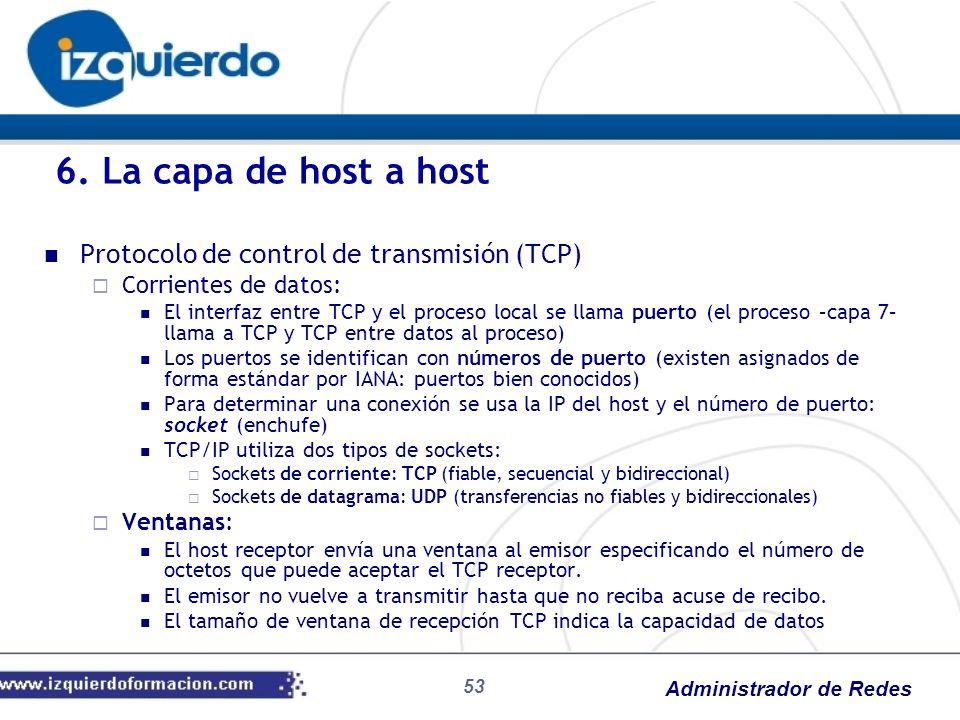 6. La capa de host a host Protocolo de control de transmisión (TCP)