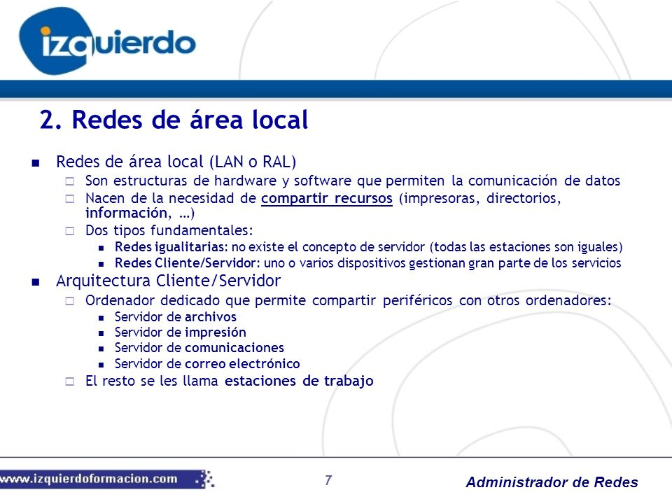 2. Redes de área local Redes de área local (LAN o RAL)