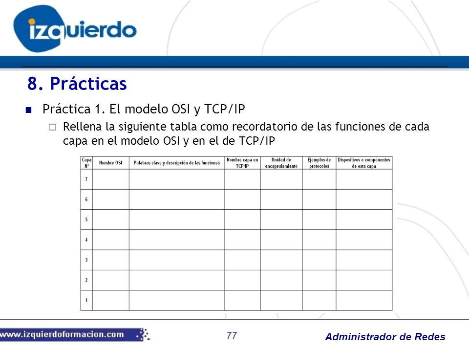 8. Prácticas Práctica 1. El modelo OSI y TCP/IP